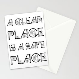 A Clean Place Is A Safe Place Virus Awareness Design Stationery Cards