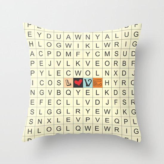 Word Search love Throw Pillow