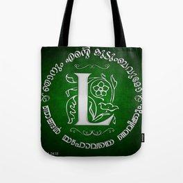Joshua 24:15 - (Silver on Green) Monogram L Tote Bag