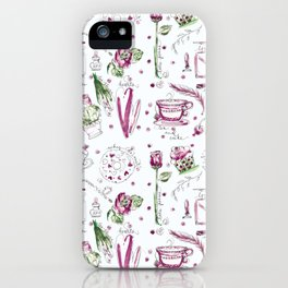 Love Note watercolor pattern iPhone Case