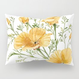 California Poppies - Watercolor Painting Pillow Sham