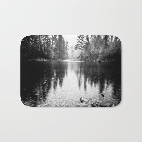Forest Reflection Lake - Black and White Nature Water Reflection Bath Mat