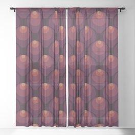 Circular Ornament Solid Colors Fishscales Seamless Pattern Sheer Curtain