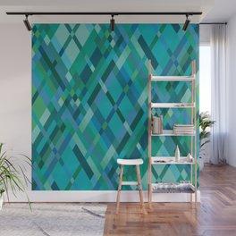 Blue Green Harlequin Pattern Wall Mural