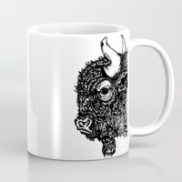 bison Mugs featuring Bison by turquoisecactus