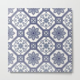 White & Blue Contemporary Floral Pattern Metal Print
