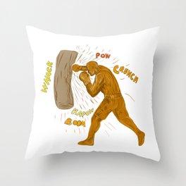 Boxer Hitting Punching Bag Drawing Throw Pillow