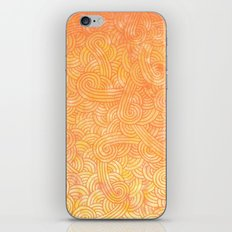Ombre yellow and orange swirls doodles iPhone & iPod Skin