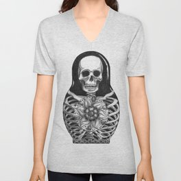 Matryoshka Skelton Doll Unisex V-Neck