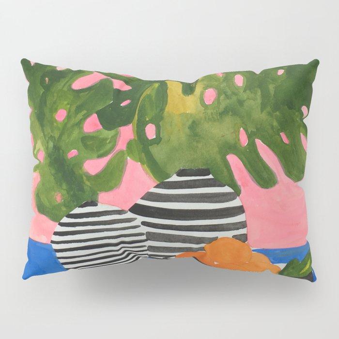 Pink Wall Monstera Pillow Sham