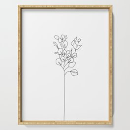 Botanical floral illustration line drawing - Eucalyptus Serving Tray
