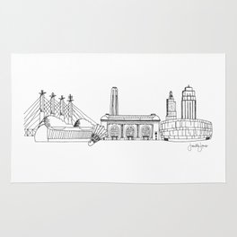 Kansas City Skyline Illustration Black Line Art Rug