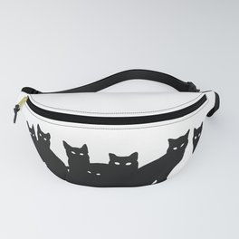 Seven black cats in white space. Fanny Pack