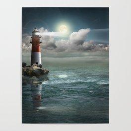 Lighthouse Under Back Light Poster
