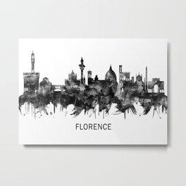 Florence Italy Skyline BW Metal Print