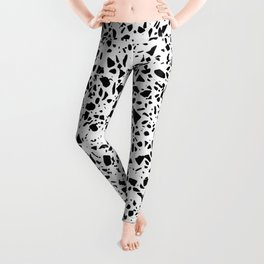 Black and White Dalmatian Pattern Dots Terrazzo Print Leggings