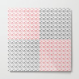 Imperfect Hearts Checkerboard Pattern- Red/Black/WHITE Metal Print
