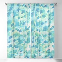 Blue, Green and Aqua Abstract Watercolor Painted Spots Sheer Curtain