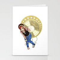mucha Stationery Cards featuring Mucha Music Fan by Adriana Blake
