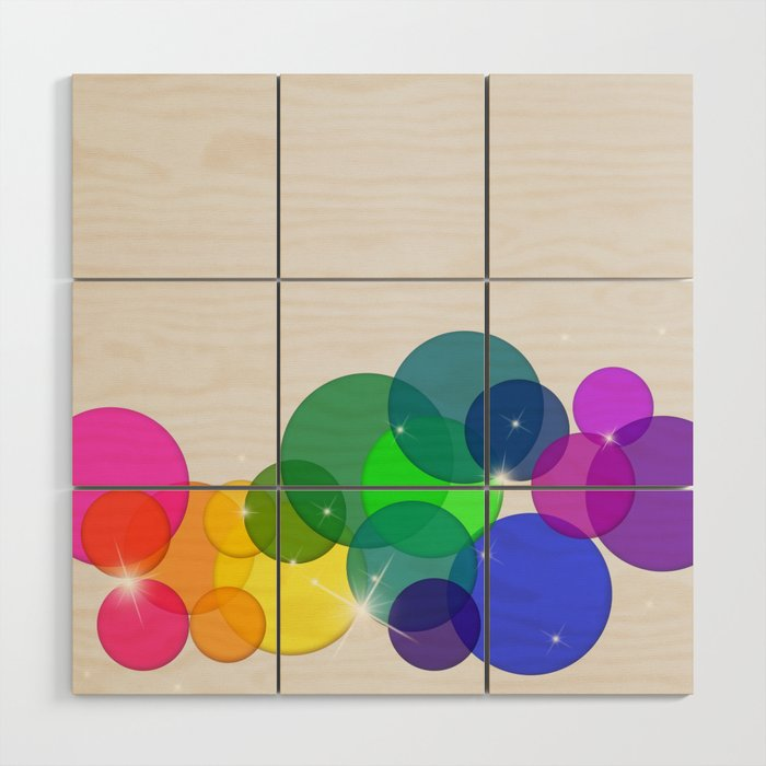 Translucent Rainbow Colored Circles with Sparkles - Multi Colored Wood Wall Art