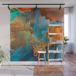 Abstract Blue And Gold Autumn Marble Wall Mural