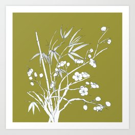 bamboo and plum flower in white on yellow Art Print