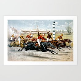 A Hot Race From Start Vintage Horse Racing Art Print