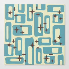 Retro Mid Century Modern Abstract Pattern 577 Blue Brown Canvas Print