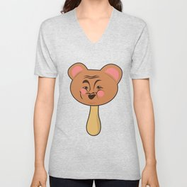 Popsicle Icecream Sweets Animal Bear Face laughing Funny Kids Gift idea Unisex V-Neck