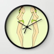 Brunette Twin Models Wall Clock