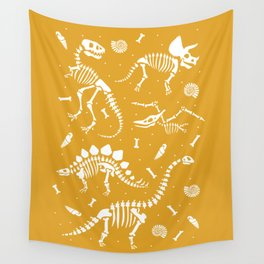 Dinosaur Fossils on Mustard Yellow Wall Tapestry