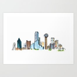 downtown dallas skyline Art Print