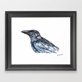 Crow in blues Framed Art Print