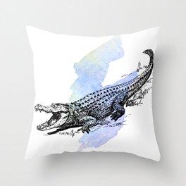 Florida Alligator on Purple Blue Green Watercolor Throw Pillow