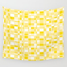 Mod Gingham - Yellow Wall Tapestry