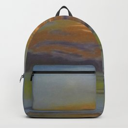 At the Coast, Beautiful Sunrise with streaks of orange, purple, yellow, gray seascape painting by Léon Spilliaert  Backpack