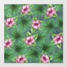 Jungle Love, Palm Leaves And Hibiscus Canvas Print