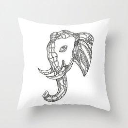 Bull  Elephant Head Doodle Art Throw Pillow