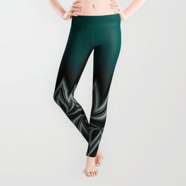 Fractal Tribal Art in Pacific Teal Leggings