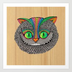 Alice´s Cat Wood Art Print