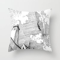 led zeppelin Throw Pillows featuring Zeppelin Overhead by Mr.Willow