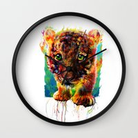 tiger Wall Clocks featuring tiger by ururuty