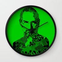 steve jobs Wall Clocks featuring Steve Jobs green by Rebecca Bear