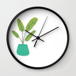 Houseplant Print No.1 (Aqua) Wall Clock