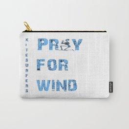 Kiteboarding Humor Kneeling Skeleton Praying For Wind Carry-All Pouch