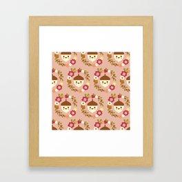 Acorn and Flowers Pattern Design / Blush Pink Framed Art Print