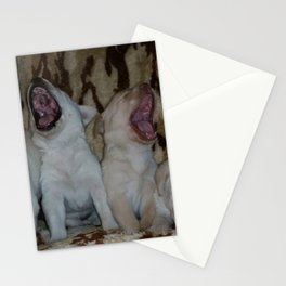 Howling Good Time with yellow lab puppies Stationery Cards