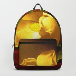 A Gold Yellow Magnolia on Red Velvet by Martin Johnson Head Backpack