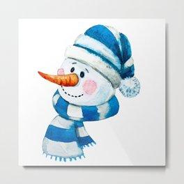 Blue Snowman 01 Metal Print