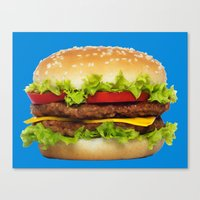 burger Canvas Prints featuring burger by Shanna Dunn